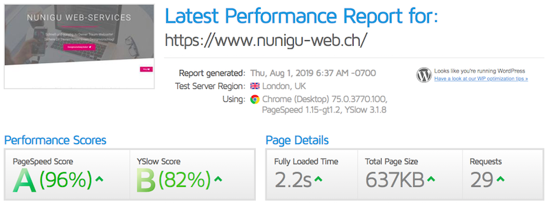 Nunigu Web-Services GTMETRIX Performace