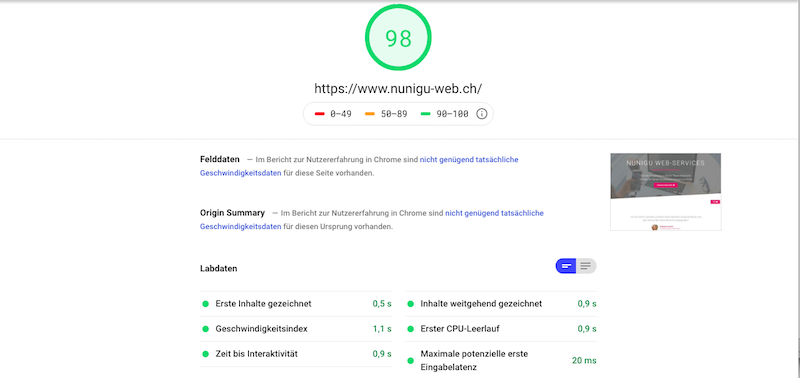 Nunigu Web-Services Google Performace
